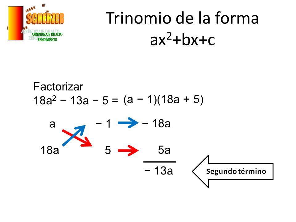 Trinomio de la forma ax 2 +bx+c Factorizar 18a 2 13a 5 = a 18a 1 5 5a 13a Segundo término (a 1)(18a + 5)