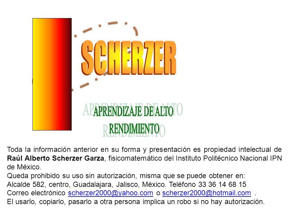 Toda la información anterior en su forma y presentación es propiedad intelectual de Raúl Alberto Scherzer Garza, fisicomatemático del Instituto Politécnico Nacional IPN de México.