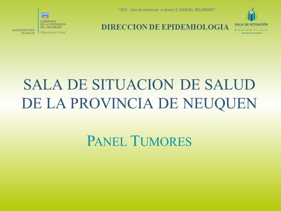 SALA DE SITUACION DE SALUD DE LA PROVINCIA DE NEUQUEN P ANEL T UMORES DIRECCION DE EPIDEMIOLOGIA 2012 - Año de Homenaje al doctor D.