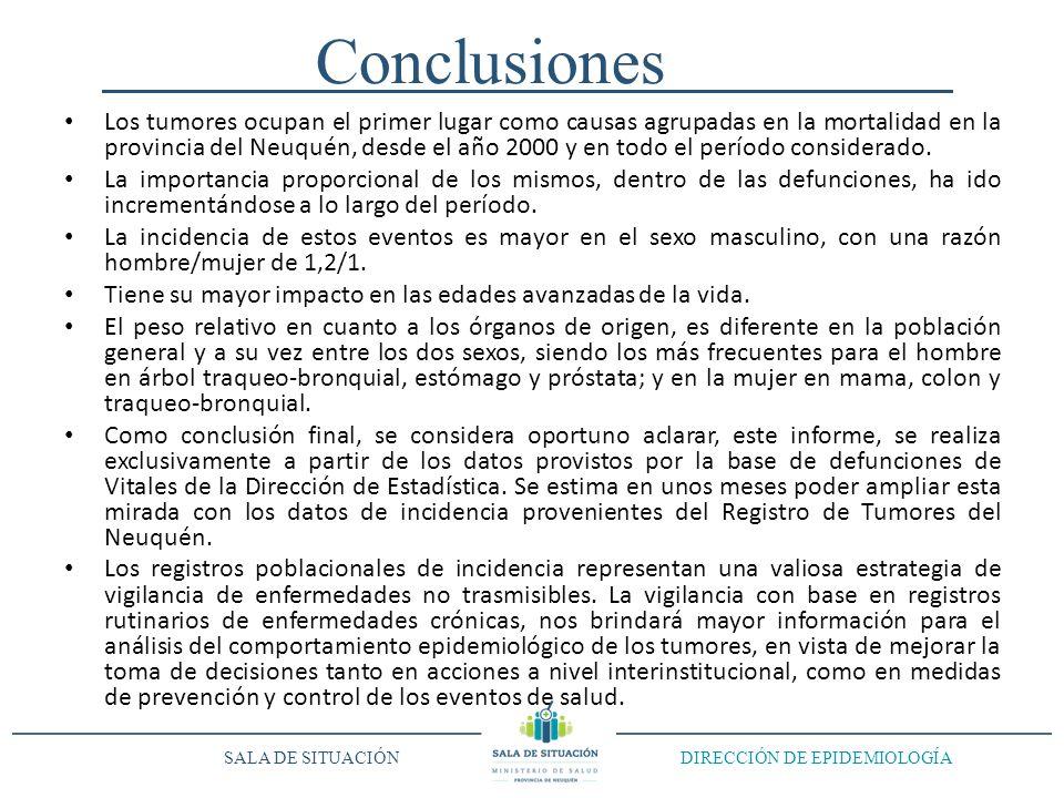 Conclusiones Los tumores ocupan el primer lugar como causas agrupadas en la mortalidad en la provincia del Neuquén, desde el año 2000 y en todo el per