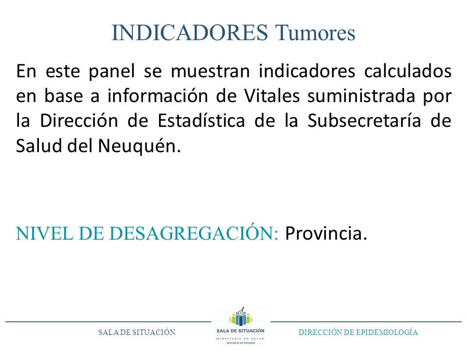 INDICADORES Tumores En este panel se muestran indicadores calculados en base a información de Vitales suministrada por la Dirección de Estadística de la Subsecretaría de Salud del Neuquén.