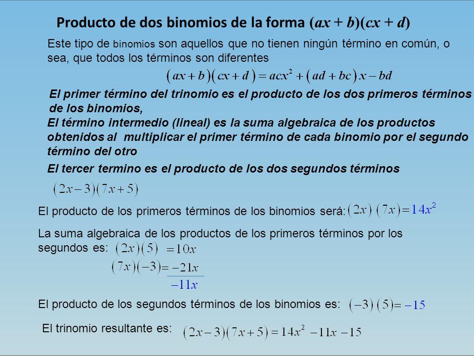 Producto de dos binomios de la forma (ax + b)(cx + d) Este tipo de binomios son aquellos que no tienen ningún término en común, o sea, que todos los términos son diferentes El primer término del trinomio es el producto de los dos primeros términos de los binomios, El término intermedio (lineal) es la suma algebraica de los productos obtenidos al multiplicar el primer término de cada binomio por el segundo término del otro El tercer termino es el producto de los dos segundos términos El trinomio resultante es: El producto de los primeros términos de los binomios será: La suma algebraica de los productos de los primeros términos por los segundos es: El producto de los segundos términos de los binomios es: