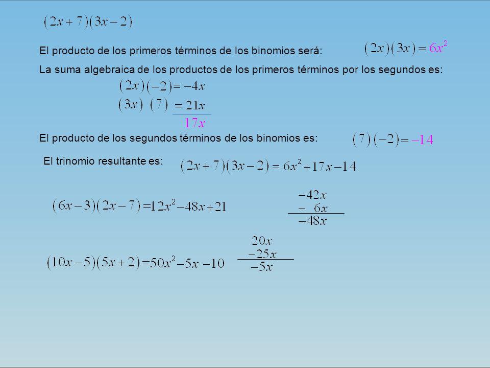 El trinomio resultante es: El producto de los primeros términos de los binomios será: La suma algebraica de los productos de los primeros términos por los segundos es: El producto de los segundos términos de los binomios es: