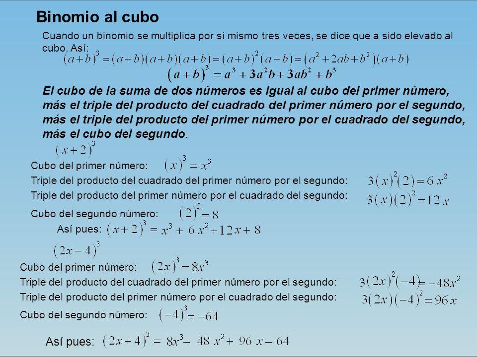 El cubo de la suma de dos números es igual al cubo del primer número, más el triple del producto del cuadrado del primer número por el segundo, más el triple del producto del primer número por el cuadrado del segundo, más el cubo del segundo.