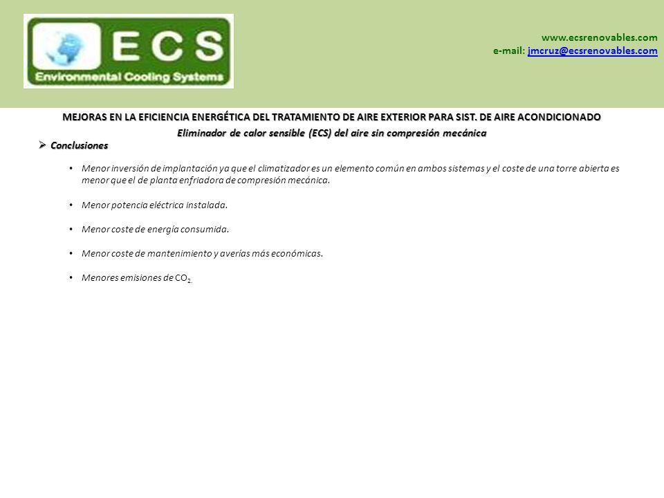 www.sein-sa.com www.ecsrenovables.com www.grisair.es Menor inversión de implantación ya que el climatizador es un elemento común en ambos sistemas y e