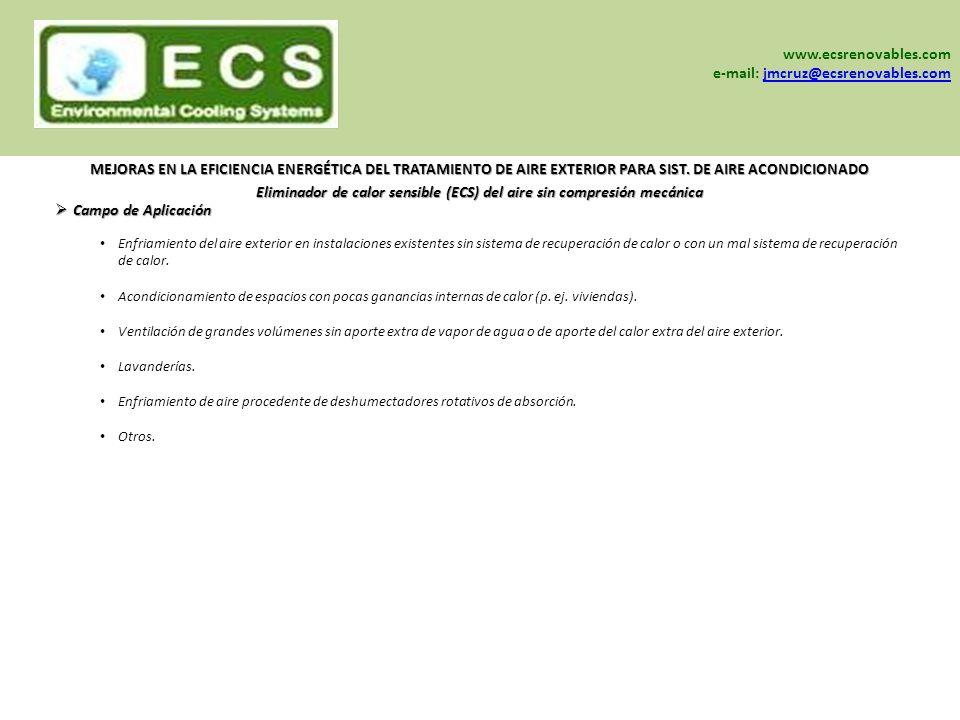 www.sein-sa.com www.ecsrenovables.com www.grisair.es Enfriamiento del aire exterior en instalaciones existentes sin sistema de recuperación de calor o