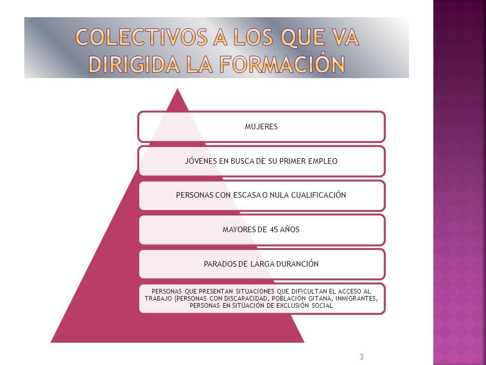 MUJERESJÓVENES EN BUSCA DE SU PRIMER EMPLEOPERSONAS CON ESCASA O NULA CUALIFICACIÓNMAYORES DE 45 AÑOSPARADOS DE LARGA DURANCIÓN PERSONAS QUE PRESENTAN SITUACIONES QUE DIFICULTAN EL ACCESO AL TRABAJO (PERSONAS CON DISCAPACIDAD, POBLACIÓN GITANA, INMIGRANTES, PERSONAS EN SITUACIÓN DE EXCLUSIÓN SOCIAL 3
