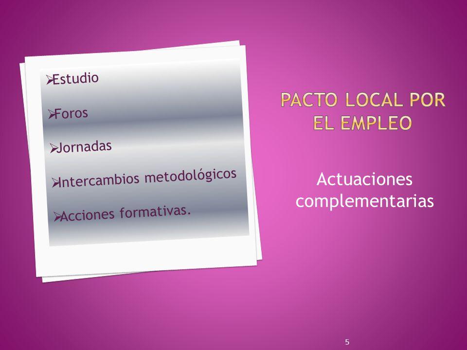 Actuaciones complementarias 5 Estudio Foros Jornadas Intercambios metodológicos Acciones formativas.
