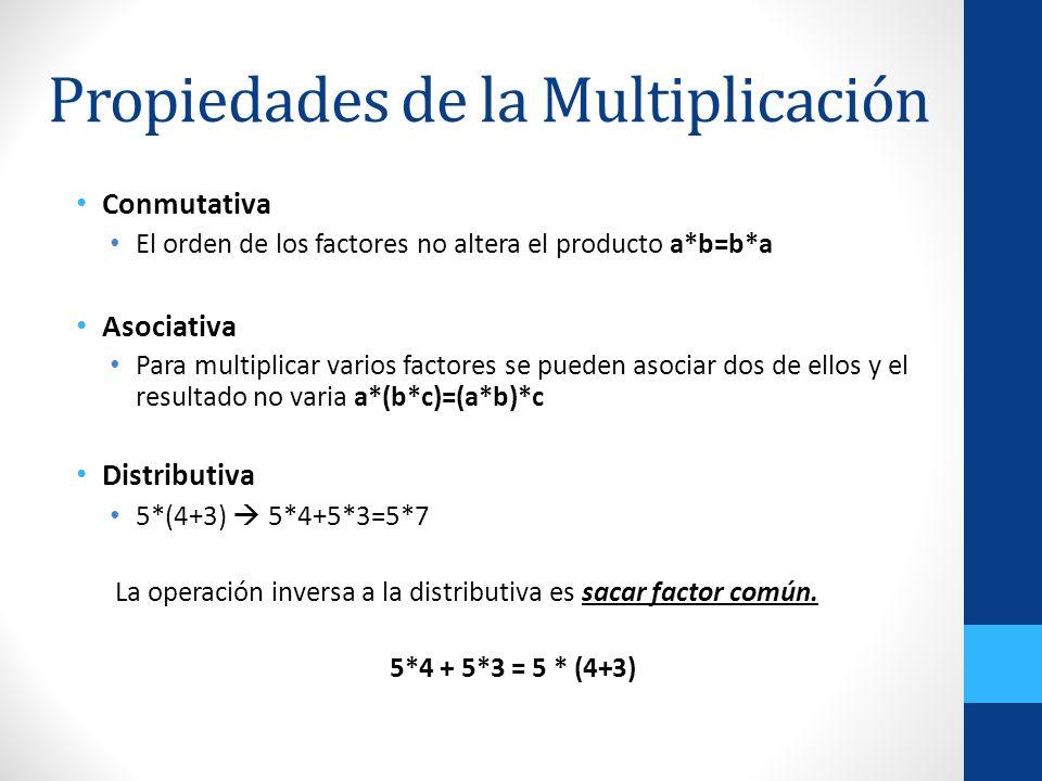 Propiedades de la Multiplicación Conmutativa El orden de los factores no altera el producto a*b=b*a Asociativa Para multiplicar varios factores se pue