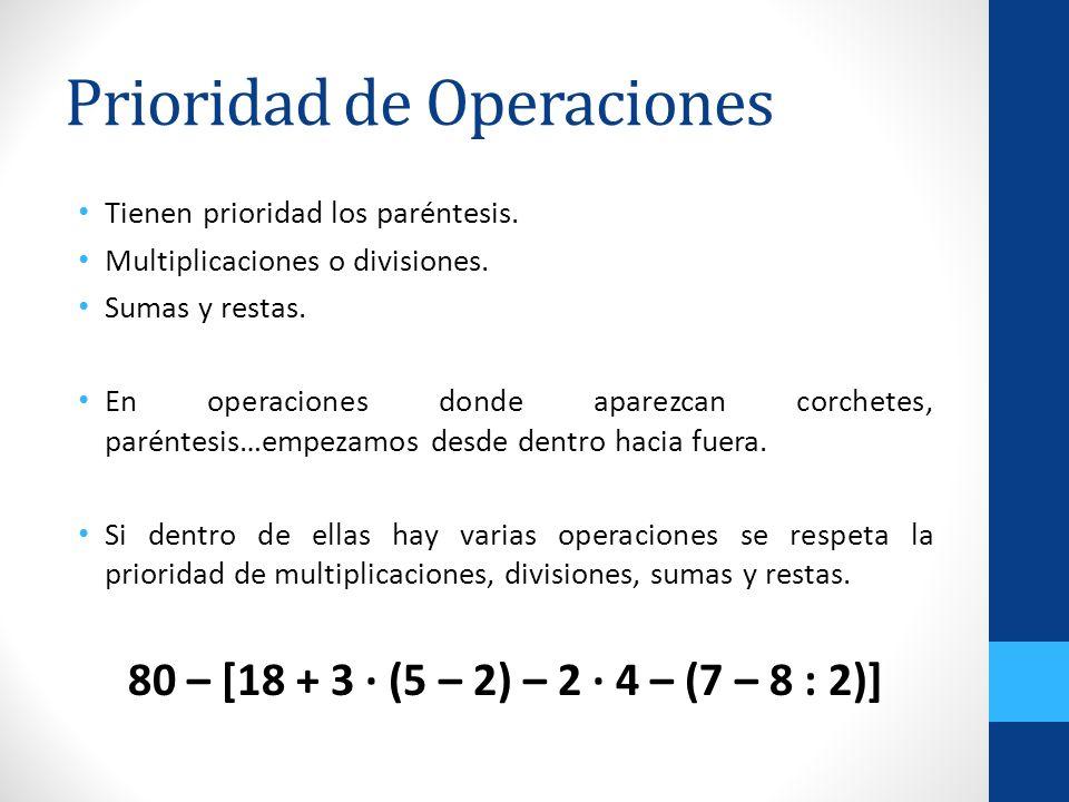 Prioridad de Operaciones Tienen prioridad los paréntesis. Multiplicaciones o divisiones. Sumas y restas. En operaciones donde aparezcan corchetes, par