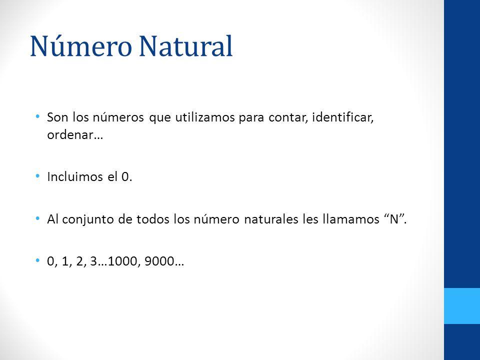 Número Natural Son los números que utilizamos para contar, identificar, ordenar… Incluimos el 0. Al conjunto de todos los número naturales les llamamo