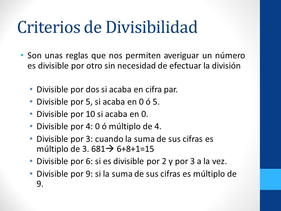 Criterios de Divisibilidad Son unas reglas que nos permiten averiguar un número es divisible por otro sin necesidad de efectuar la división Divisible