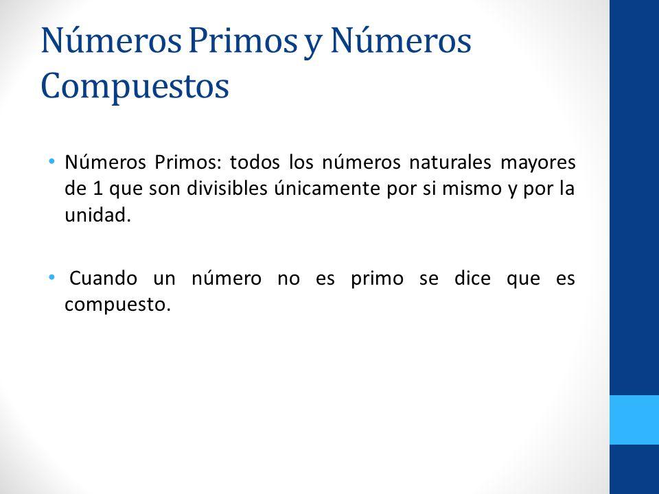 Números Primos y Números Compuestos Números Primos: todos los números naturales mayores de 1 que son divisibles únicamente por si mismo y por la unida