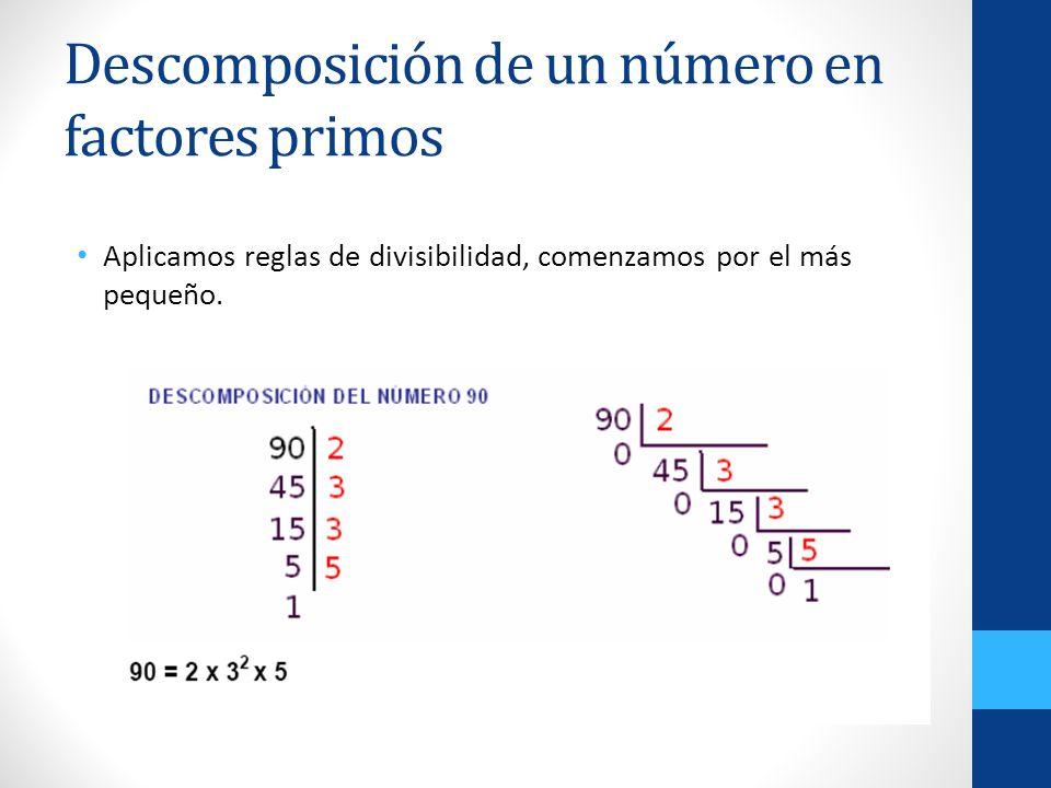 Descomposición de un número en factores primos Aplicamos reglas de divisibilidad, comenzamos por el más pequeño.