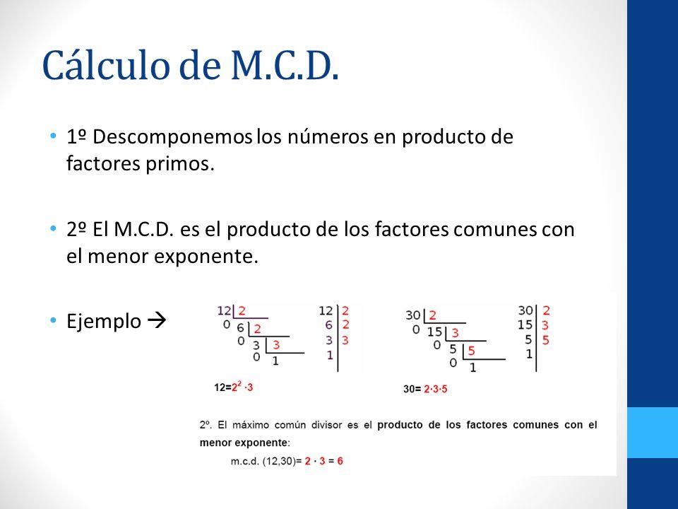 Cálculo de M.C.D. 1º Descomponemos los números en producto de factores primos. 2º El M.C.D. es el producto de los factores comunes con el menor expone