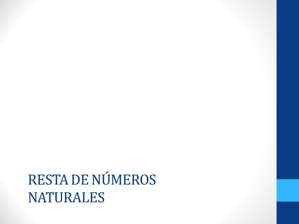 RESTA DE NÚMEROS NATURALES