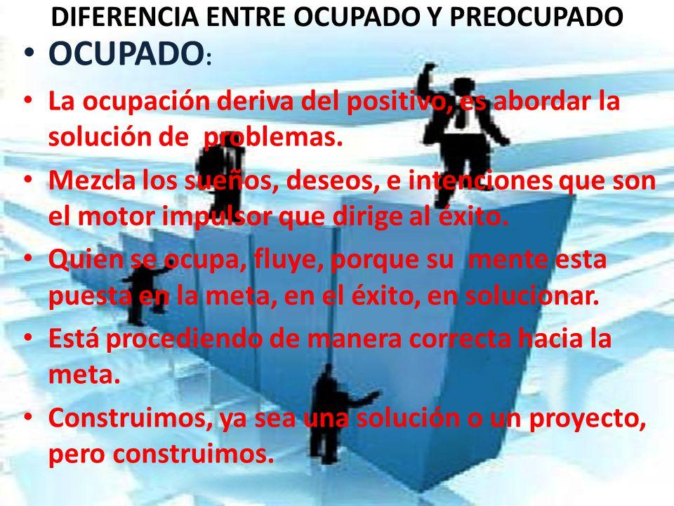 DIFERENCIA ENTRE OCUPADO Y PREOCUPADO OCUPADO : La ocupación deriva del positivo, es abordar la solución de problemas. Mezcla los sueños, deseos, e in