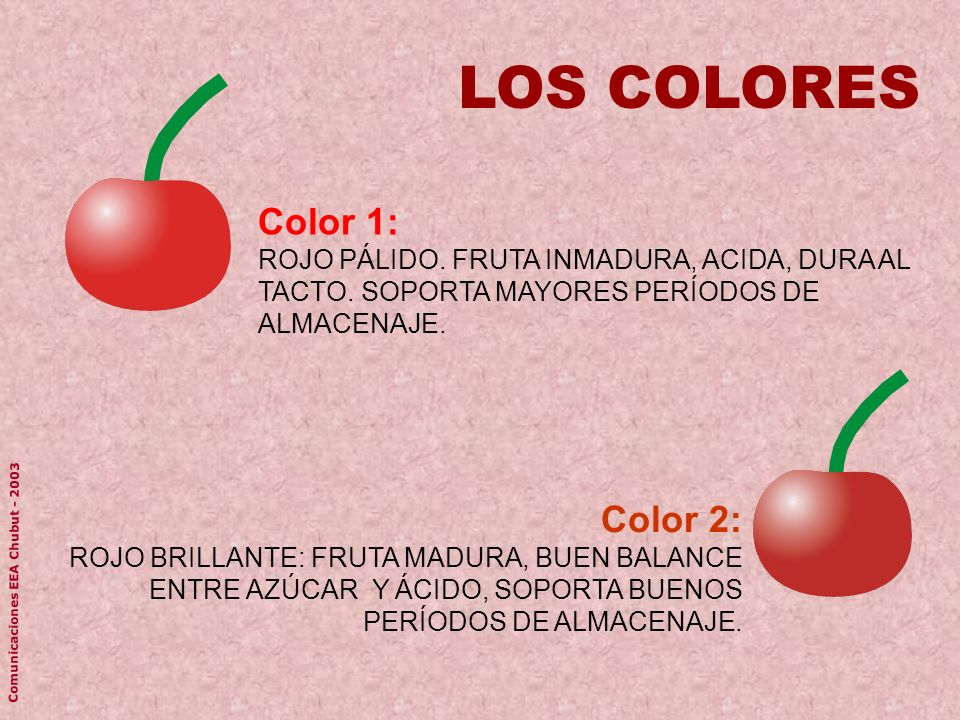 Color 1: ROJO PÁLIDO. FRUTA INMADURA, ACIDA, DURA AL TACTO. SOPORTA MAYORES PERÍODOS DE ALMACENAJE. LOS COLORES Color 2: ROJO BRILLANTE: FRUTA MADURA,