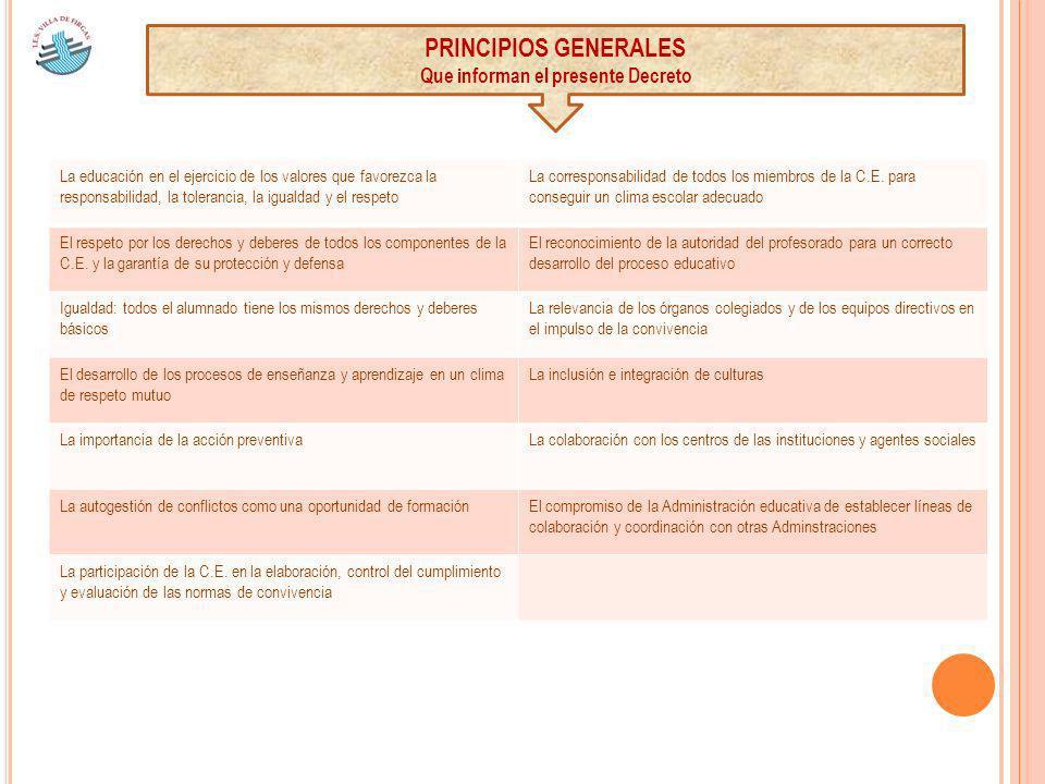 PRINCIPIOS GENERALES Que informan el presente Decreto La educación en el ejercicio de los valores que favorezca la responsabilidad, la tolerancia, la