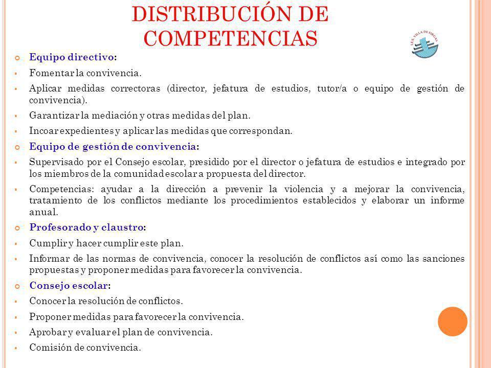 Equipo directivo: Fomentar la convivencia. Aplicar medidas correctoras (director, jefatura de estudios, tutor/a o equipo de gestión de convivencia). G