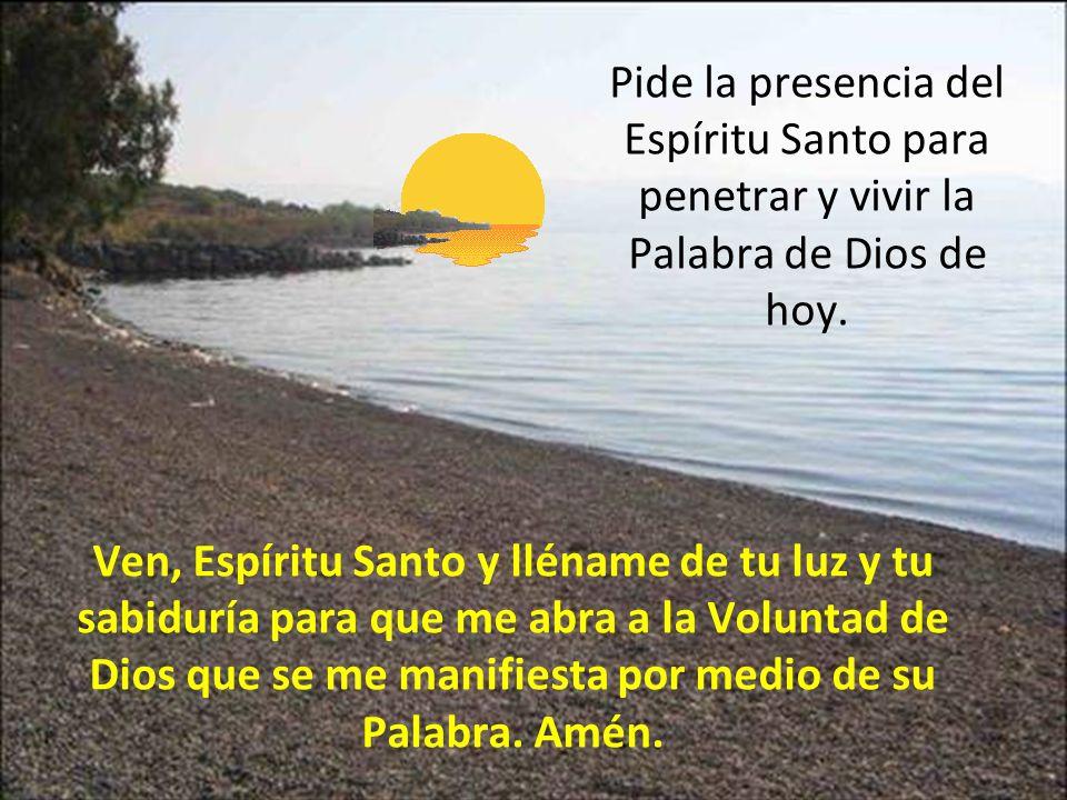 Pide la presencia del Espíritu Santo para penetrar y vivir la Palabra de Dios de hoy. Ven, Espíritu Santo y lléname de tu luz y tu sabiduría para que