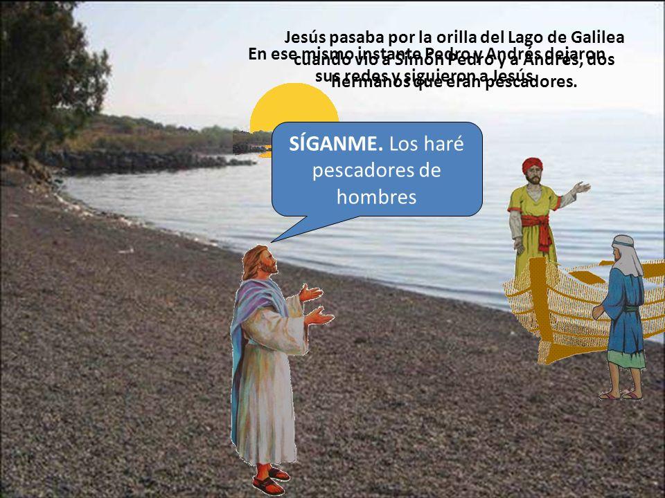 Jesús siguió caminando por la orilla del lago y vio a Santiago y a Juan, otros dos hermanos que eran pescadores, que estaban en una barca arreglando las redes junto con su Padre Zebedeo.
