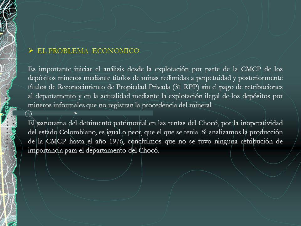 EL PROBLEMA ECONOMICO Es importante iniciar el análisis desde la explotación por parte de la CMCP de los depósitos mineros mediante títulos de minas r