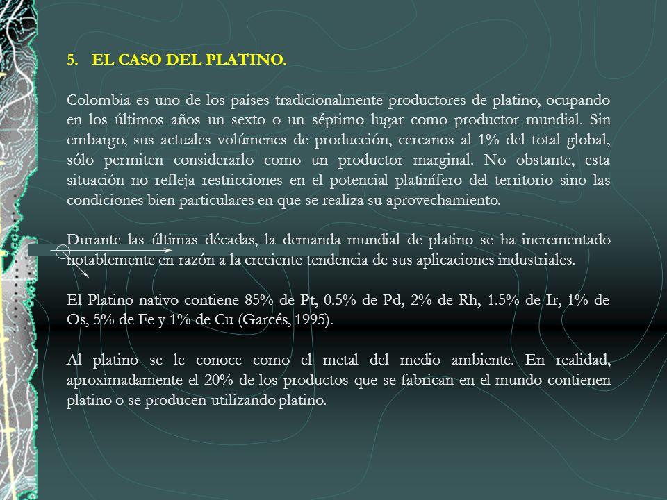 5.EL CASO DEL PLATINO. Colombia es uno de los países tradicionalmente productores de platino, ocupando en los últimos años un sexto o un séptimo lugar