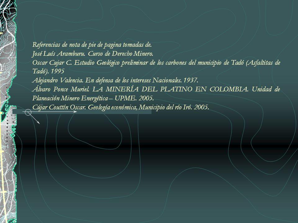 Referencias de nota de pie de pagina tomadas de. José Luís Aramburu. Curso de Derecho Minero. Oscar Cujar C. Estudio Geológico preliminar de los carbo
