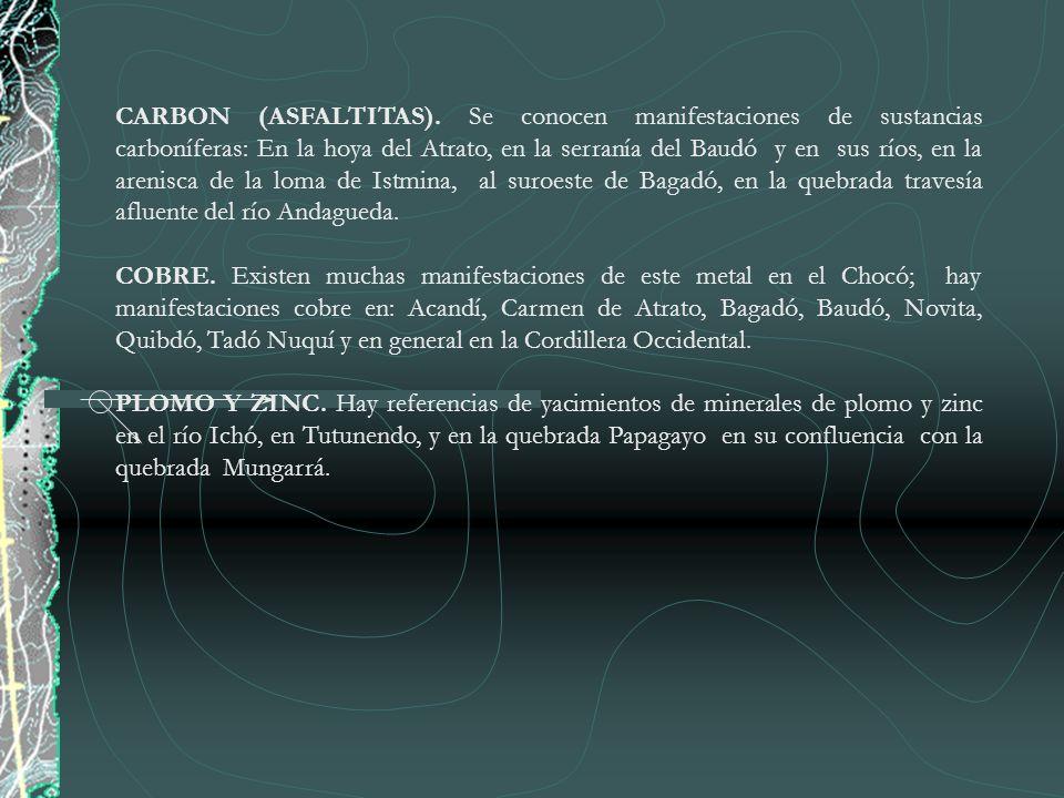 3.ANTECEDENTES El desarrollo de la minería en el Departamento del Chocó, se reduce a la explotación de Oro y Platino que se realiza desde el siglo XVI, y la explotación de Cobre que desde la década de los 80 se realiza en el Municipio del Carmen de Atrato (Chocó) por la empresa ERESSA.