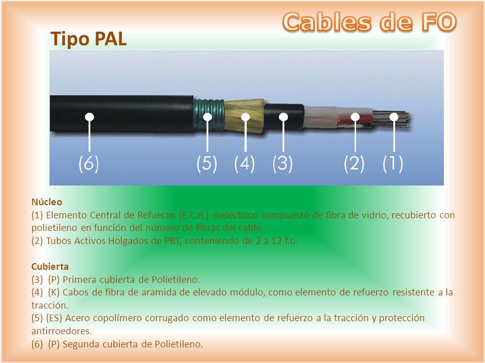 Núcleo (1) Elemento Central de Refuerzo (E.C.R.) dieléctrico compuesto de fibra de vidrio, recubierto con polietileno en función del número de fibras