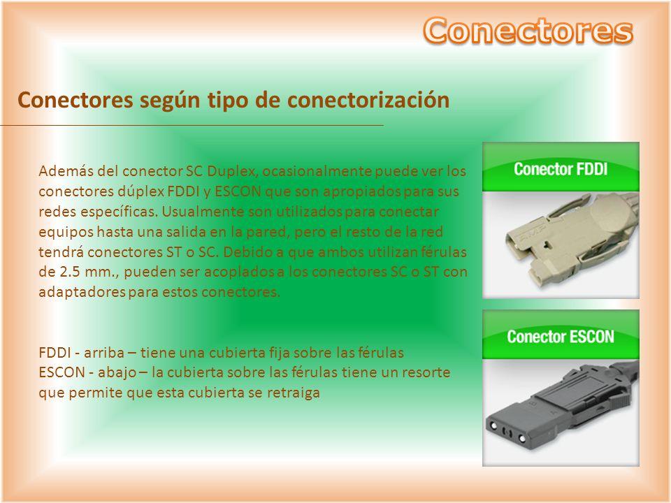 Conectores según tipo de conectorización Además del conector SC Duplex, ocasionalmente puede ver los conectores dúplex FDDI y ESCON que son apropiados