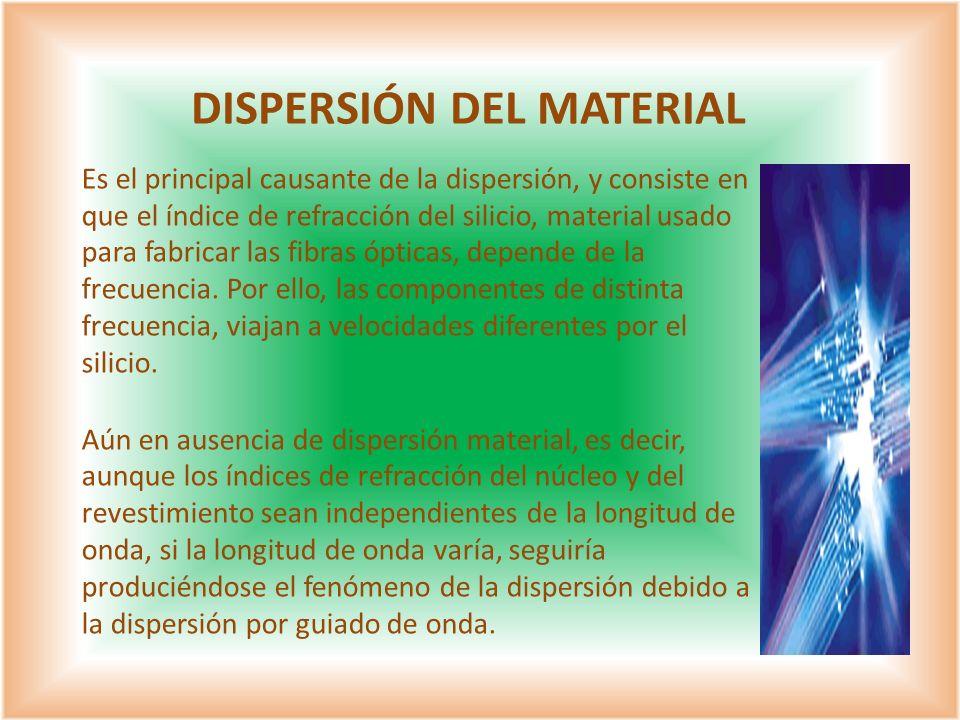 Es el principal causante de la dispersión, y consiste en que el índice de refracción del silicio, material usado para fabricar las fibras ópticas, dep