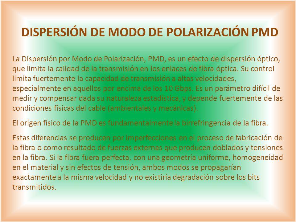 La Dispersión por Modo de Polarización, PMD, es un efecto de dispersión óptico, que limita la calidad de la transmisión en los enlaces de fibra óptica