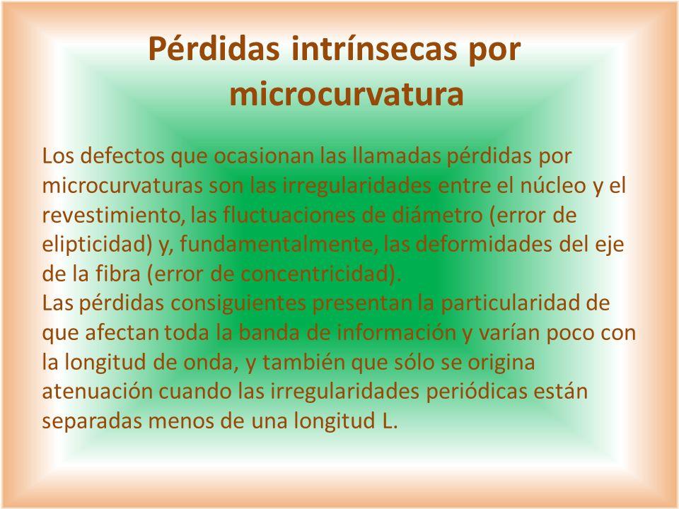 Los defectos que ocasionan las llamadas pérdidas por microcurvaturas son las irregularidades entre el núcleo y el revestimiento, las fluctuaciones de