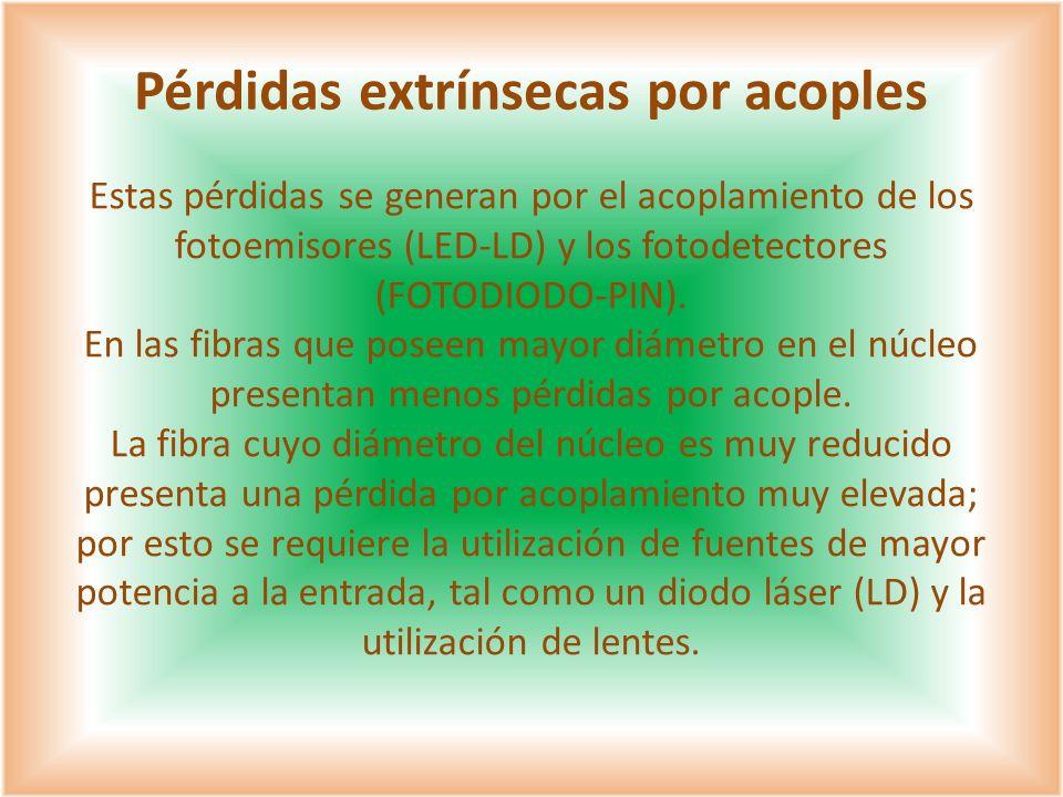 Estas pérdidas se generan por el acoplamiento de los fotoemisores (LED-LD) y los fotodetectores (FOTODIODO-PIN). En las fibras que poseen mayor diámet