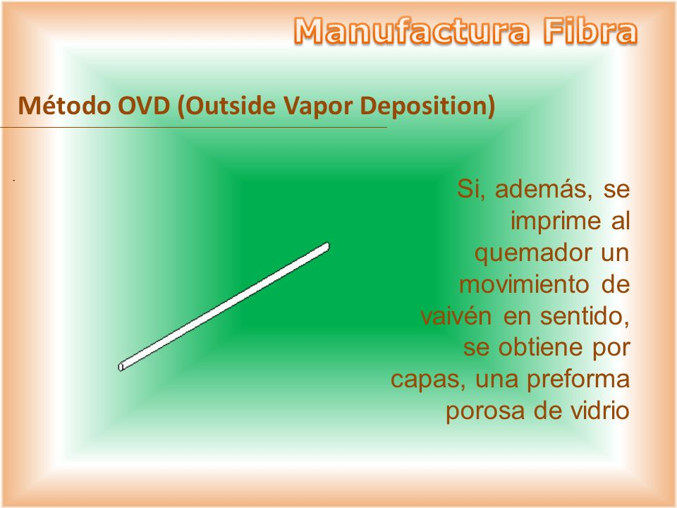 Si, además, se imprime al quemador un movimiento de vaivén en sentido, se obtiene por capas, una preforma porosa de vidrio Método OVD (Outside Vapor D