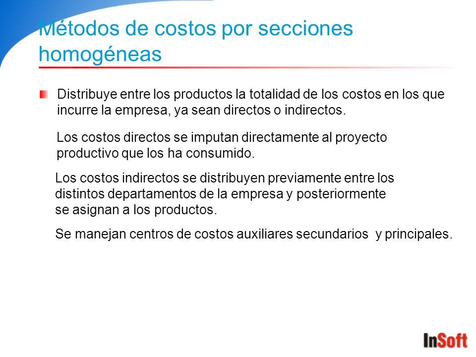 Métodos de costos por secciones homogéneas Distribuye entre los productos la totalidad de los costos en los que incurre la empresa, ya sean directos o