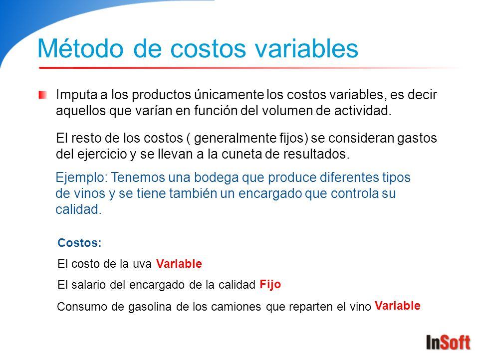 Método de costos variables Imputa a los productos únicamente los costos variables, es decir aquellos que varían en función del volumen de actividad. E