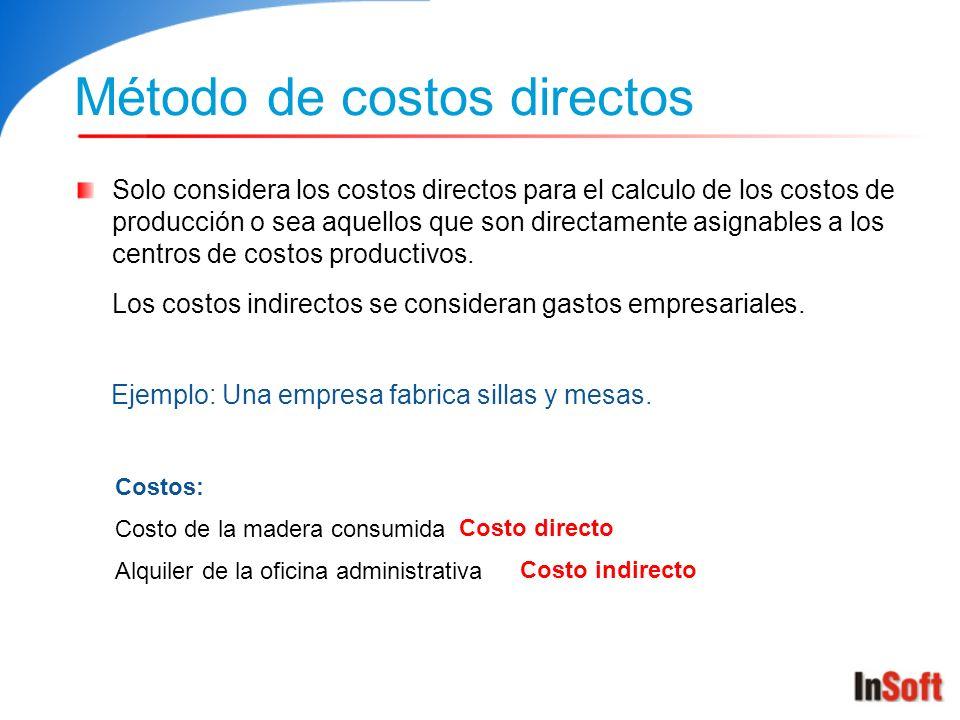Método de costos directos Solo considera los costos directos para el calculo de los costos de producción o sea aquellos que son directamente asignable