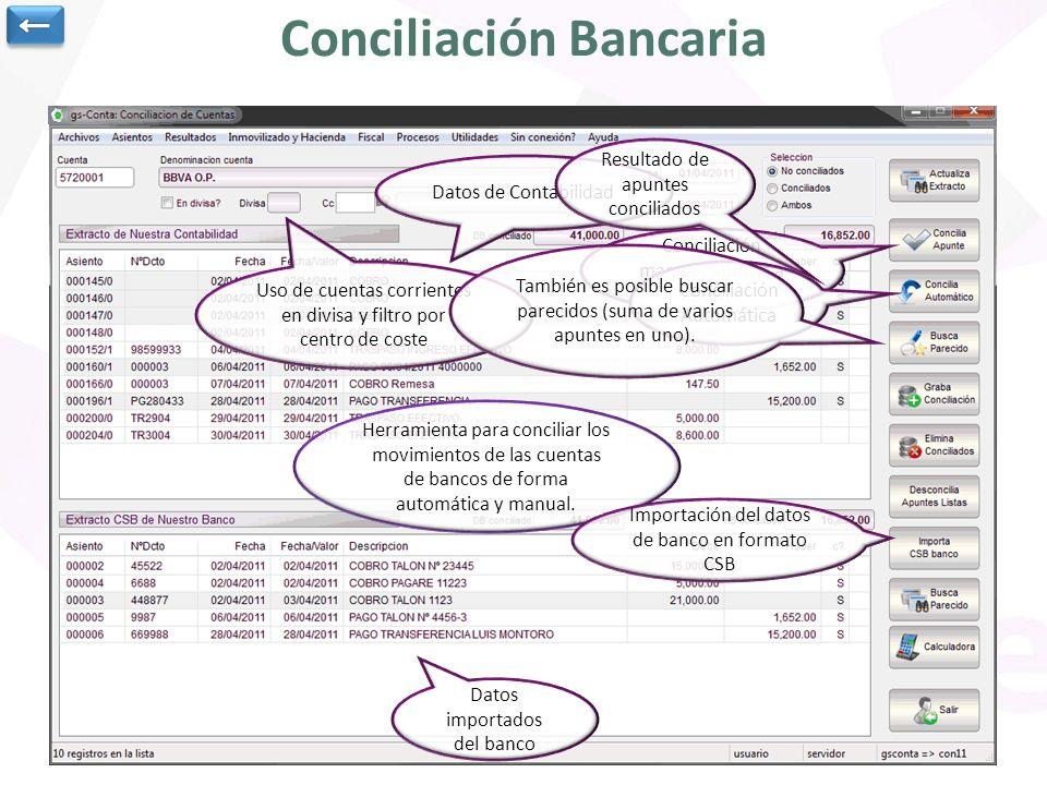 Conciliación Bancaria Herramienta para conciliar los movimientos de las cuentas de bancos de forma automática y manual. Datos de Contabilidad Importac