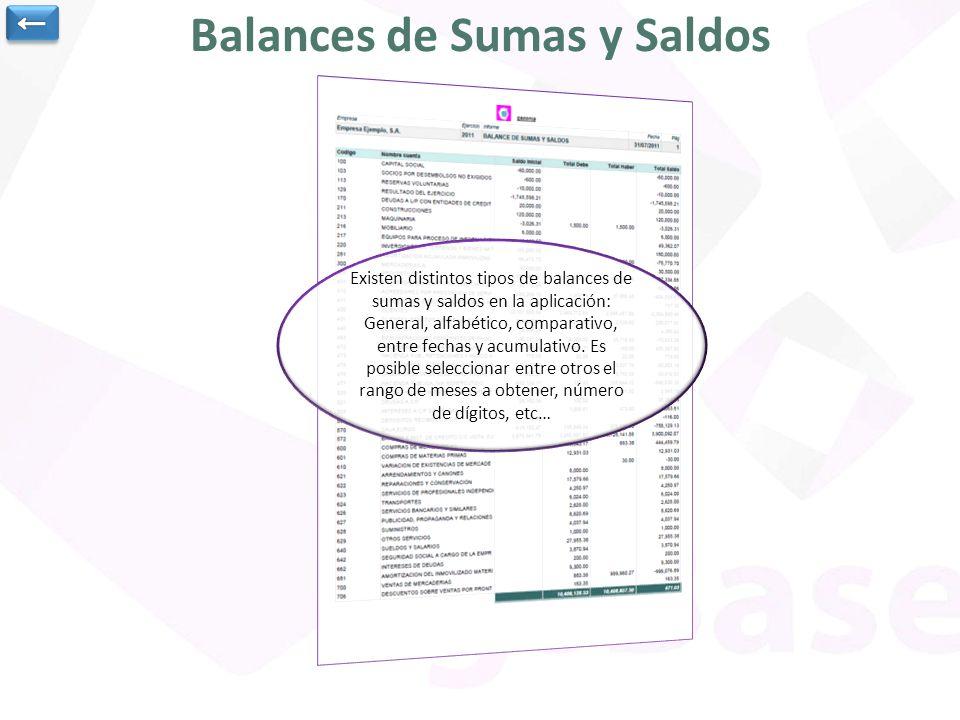 Balances de Sumas y Saldos Existen distintos tipos de balances de sumas y saldos en la aplicación: General, alfabético, comparativo, entre fechas y ac