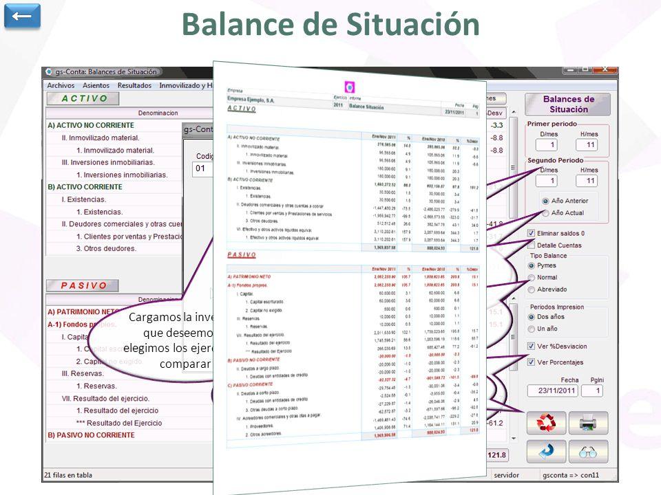 Balance de Situación Rango de meses a obtener en cada periodo del balance. Es posible comparar dos ejercicios distintos o bien dos periodos del mismo
