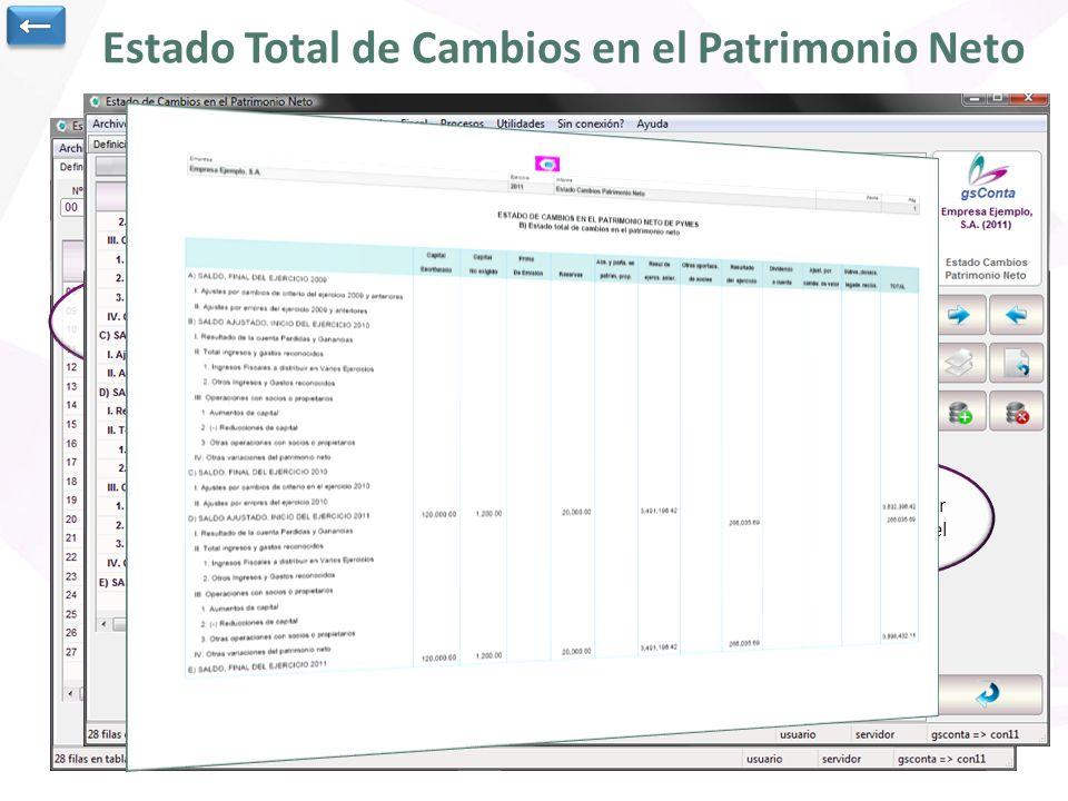 Estado Total de Cambios en el Patrimonio Neto Es posible definir los informes de ECPN que deseemos Podemos definir tanto el formato de Pymes como el N