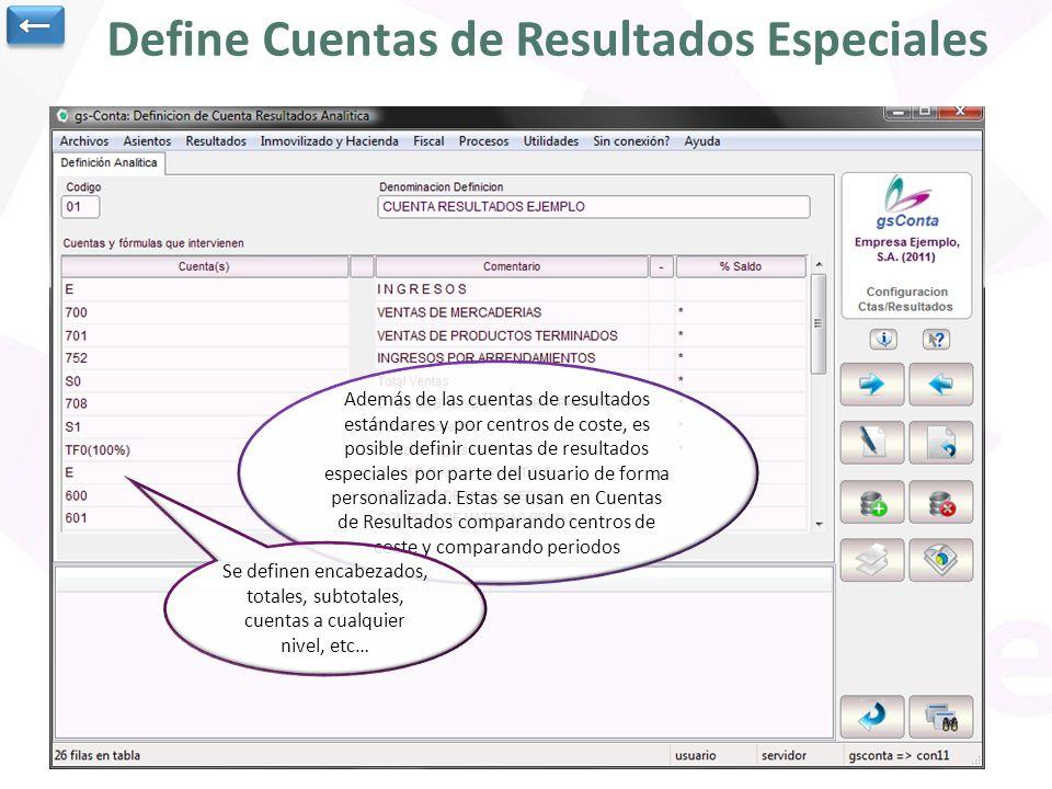 Define Cuentas de Resultados Especiales Además de las cuentas de resultados estándares y por centros de coste, es posible definir cuentas de resultado