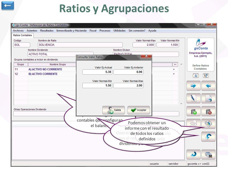 Ratios y Agrupaciones Los ratios se definen a partir de los grupos contables que configuran el balance Operaciones a realizar con el resultado del div