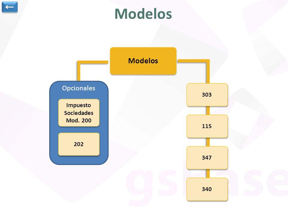 Opcionales Modelos 347 303 115 340 Impuesto Sociedades Mod. 200 Impuesto Sociedades Mod. 200 202