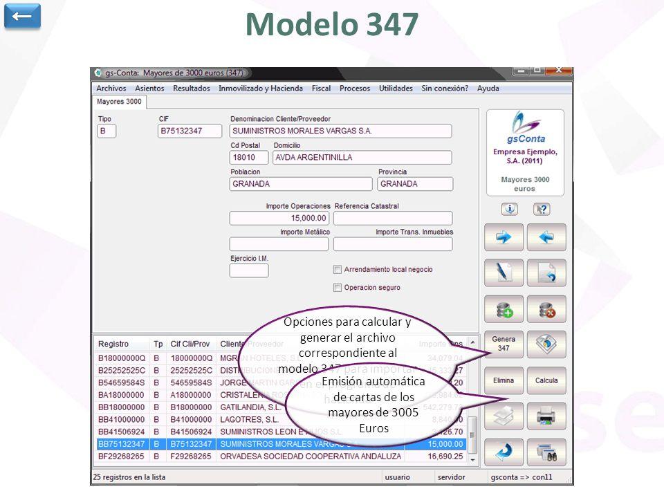 Modelo 347 Opciones para calcular y generar el archivo correspondiente al modelo 347 para importar en el programa de hacienda Emisión automática de ca