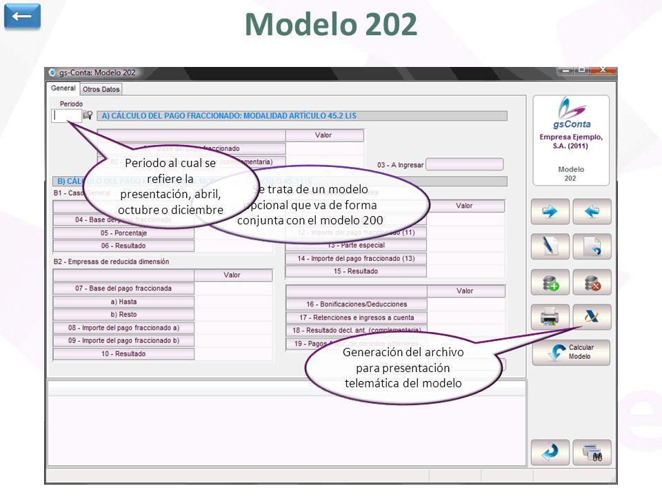 Modelo 202 Se trata de un modelo opcional que va de forma conjunta con el modelo 200 Periodo al cual se refiere la presentación, abril, octubre o dici