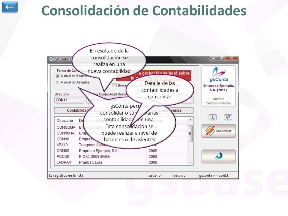 Consolidación de Contabilidades gsConta permite consolidar o sumar varias contabilidades en una. Esta consolidación se puede realizar a nivel de balan